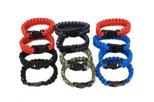 Military Grade Nylon Paracord Survival Bracelet – 1 Dz Assorted